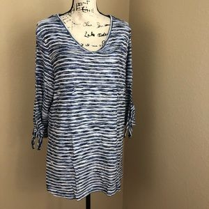 Onque Casual Navy White Tunic Top NWOT 1X